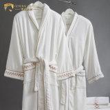 Jr060 col châle 100% coton Hôtel peignoir en velours blanc en stock