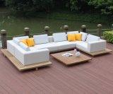 Для использования вне помещений водонепроницаемая ткань диван, патио с мебелью из тикового дерева