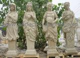 La sculpture en pierre sculptée statue en marbre avec meubles de jardin en grès de granit (sy-C1196)