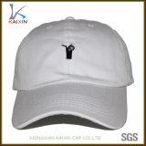 Gorra de béisbol bordada aduana del blanco de los sombreros y de los casquillos