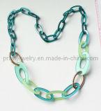 La moda de la luz de color azul y verde claro verde Collar de acrílico de Medio Ambiente de la PROM (PN-161)