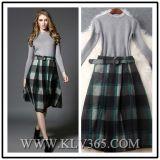 Entwerfer-Frauen-Kleidung-Dame-Plaid-langes Partei-Kleid