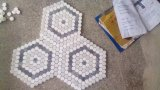 Hexágono azulejo de mármol blanco y gris de Carrara de mosaicos