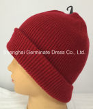 Мода ребра Beanie Red Hat для вязания Red Hat с манжетой (Hjb058)