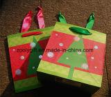 Bolsos del regalo del papel de imprenta del diseño del día de fiesta con la maneta de la cinta