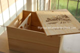 De Madera Natural Two-Bottle personalizado Caja de vino para picnic