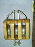Nosotros tipo bloque de polea triple de madera de la polea acanalada con Ce