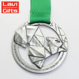 Medaglia d'argento indiana su ordinazione di sport della stazione di finitura di vendita calda con il nastro