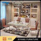 食堂の家具の大理石表の白いダイニングテーブル