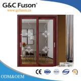 Porte coulissante en verre en aluminium de première de marque couleur en bois des graines