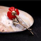 Logotipo personalizado de boa qualidade Flor vermelha único pino Broche Badge