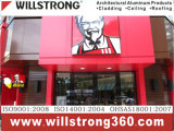 Material composto de alumínio de Willstrong do painel decorativo de Shopfront