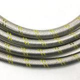 Manguito trenzado del gas del acero inoxidable con dos líneas amarillas de la fibra
