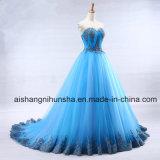 Lacet bleu de Tulle de robe de bille perlant des robes de soirée