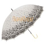 繭紬の革屈折のハンドルが付いているまっすぐな花雨傘