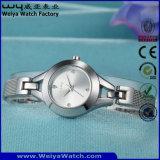ODMの方法ステンレス鋼の女性水晶腕時計(Wy-010C)