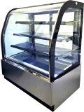 Vidro Curvo frontal Bolo de padaria comercial refrigerador de demonstração