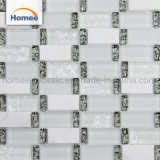Fábrica de vidrio al por mayor franja blanca piedra mosaico de vidrio diseñado Backsplash de cocina