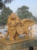 Sonnenuntergang-gelbe Marmorsteinlöwe-Skulptur mit Flügel-Statue für Garten-Dekoration
