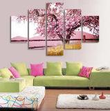 زخرفة بيضيّة يزهر زهرة شجرة نوع خيش صورة زيتيّة لون قرنفل نابض جهاز تسديد جدار فنية [كدروس] زخرفة صورة لأنّ يعيش غرزة