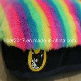 무지개 색깔 연약한 모피 두꺼운 고양이 개 소파 베드 애완 동물 매트리스 개 매트 침대