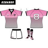 チームロゴのチーム女性のピンクのラグビーのジャージーのアメリカン・フットボールジャージー