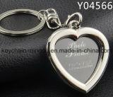 Trousseau de clés en forme de coeur de bâti de photos en métal pour le mariage