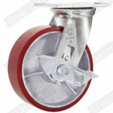Echador industrial de la rueda del poliuretano de la base de hierro de 6 pulgadas con el freno