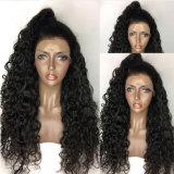 오래 Dlme 꼬부라진 흑발 형식 합성 머리 가발
