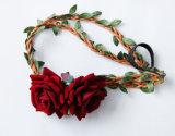 卸し売り高品質の結婚式のための赤いローズの花の花輪のヘッドバンド