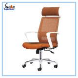 白いフレームのオレンジシートの現代オフィスの椅子