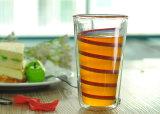 Lang Dubbel het Drinken van het Glas van de Muur Borosilicate Glas met de Druk van het Overdrukplaatje