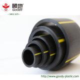 노란 선 PE100 HDPE 가스 공급 관 또는 관을%s 가진 까만 색깔
