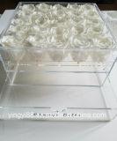 Boîte-cadeau en cristal de vente chaude de cadre de fleur de cadre acrylique de Rose