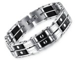 方法高品質の人のモーターバイカーのチェーン・リンク2の列のシリコーンのブレスレットのステンレス鋼のパンクのブレスレットは袖口の腕輪を遊ばす