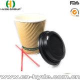 Corrugted café desechables de papel rizado Taza, vaso de papel de pared (12oz.)