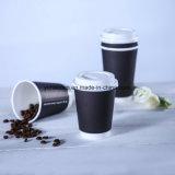 Papiercup des doppel-wandigen heißen Kaffee-16oz mit Kappe