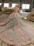 O vestido de esfera V profundo suporta o vestido de casamento contínuo da flor