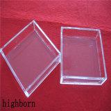 透過高い石英ガラスのガラス正方形の形の容器