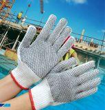 связанные хлопком перчатки безопасности 7g с 2 бортовыми многоточиями PVC