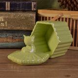 Vaso di ceramica della candela di esagono con lusso Lid