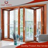 GlasFolding/Bi-Fold Türen des hölzernen Korn-Aluminiumrahmen-Doppelt-