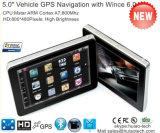 """5.0 populares"""" Carro elevador com navegação GPS Marinhos de Wince 6.0 Dual CPU de 800 MHz, o transmissor FM, entrada AV-in para o estacionamento do sistema do Navegador GPS da câmara, dispositivo de rastreamento de TMC"""
