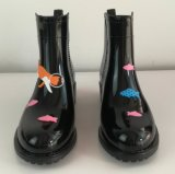 De populaire Laarzen van de Regen van pvc van de Druk van de Stijl, de Laars van de Regen van de Vrouw, de Laarzen van Dames