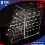 Organisateur clair de plexiglass - cadre acrylique de cube en mémoire avec des tiroirs