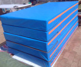 Vinyle bleu d'atterrissage de couvre-tapis de sûreté de couvre-tapis gymnastique à haute densité de krach à vendre