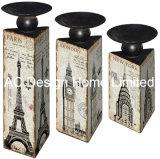 MDF dell'oggetto d'antiquariato dell'annata di disegno di S/3 grande Ben di legno/supporto di candela di carta del triangolo decalcomania del metallo