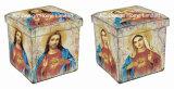Старинная Vintage религии дизайн квадратных Cube провод фиолетового цвета кожи и дерева для хранения Османской табурет складной сиденья