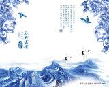 De mooie Blauwe Pioen met de Vlinders maakt Van golfkarton voor de Decoratie van de Muur waterdicht