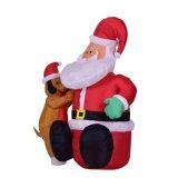 De opblaasbare licht-Omhooggaande Decoratie van Kerstmis van de Kerstman voor de Vertoning van de Tuin met de Ventilator en het Licht van de Lucht